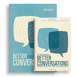 "Photo of the covers of Jim Knight's book ""Better Conversations"" and the reflection guide companion book."