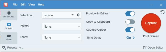 snagit capture options