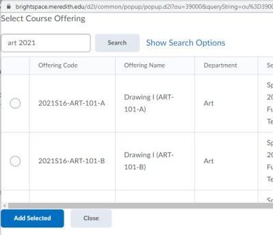 brightspace course copy course search box