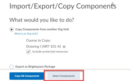 brightspace select components button