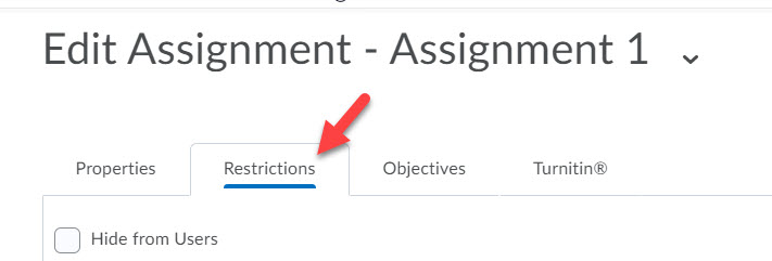 brightspace classic assignment restriction tab
