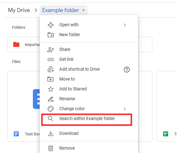 drive folder search screenshot popup menu