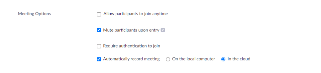 Zoom Meeting Options Image to illustrate Automatic Recording of meetings with the in the cloud option.