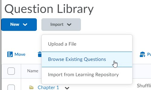 brightspace question library import browse questions