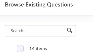 brightspace question library browse search bar