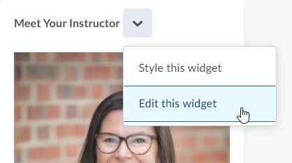 edit meet instructor widget context menu