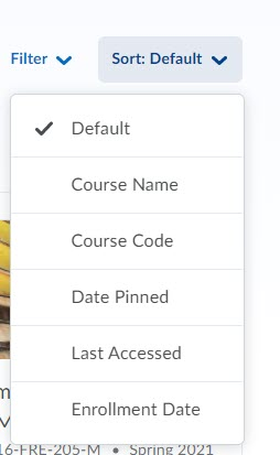brightspace all courses sort
