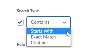brightspace classlist search options