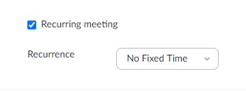 zoom recurring meeting no fixed time