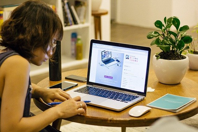 woman working from laptop at home