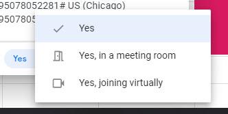 google calendar virtual or in person