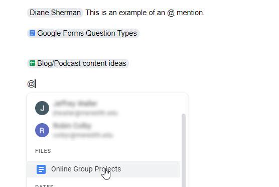 google docs at mentions options