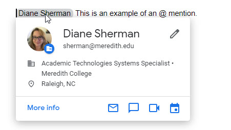 google docs at mentions user profile card