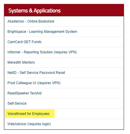 my meredith staff page systems application block