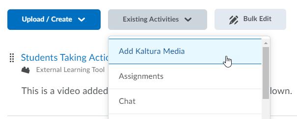 kaltura add through existing activities button