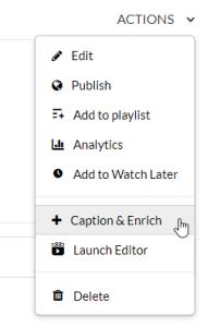kaltura caption and enrich option in actions menu