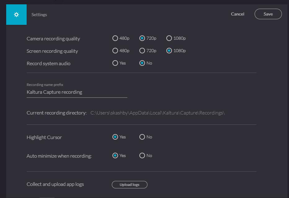 kaltura capture desktop manager settings