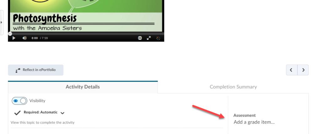 brightspace kaltura video quiz add grade item