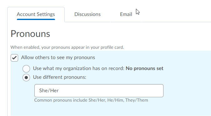 brightspace settings pronoun options