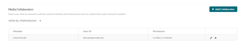 kaltura collaboration tab with collaborator edit options