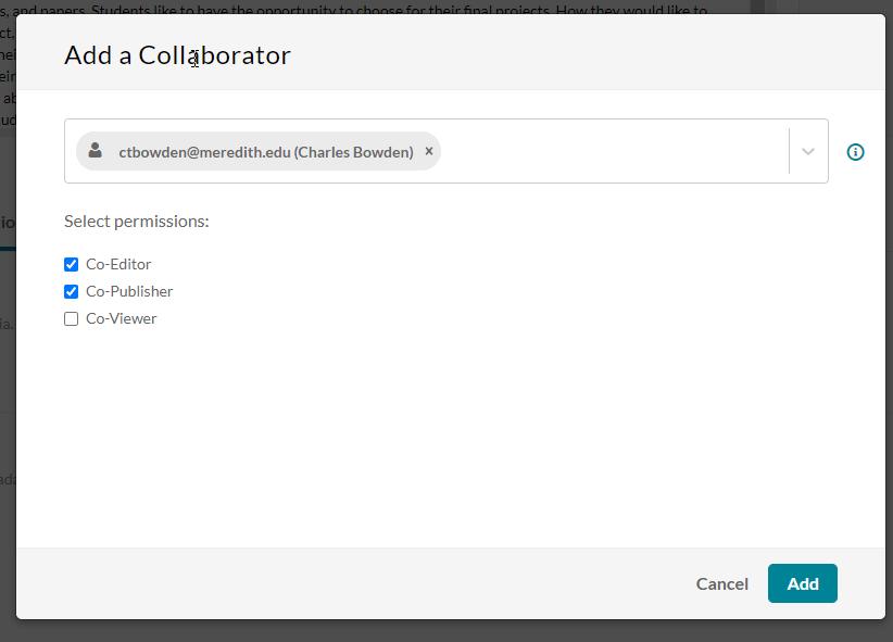 kaltura edit screen add collaborator popup
