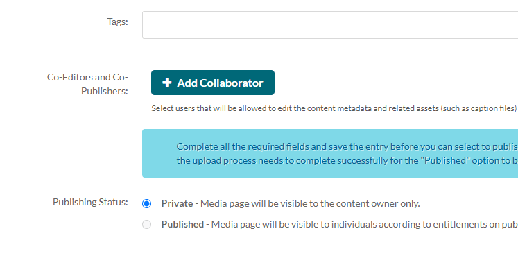 kaltura media upload add collaborator
