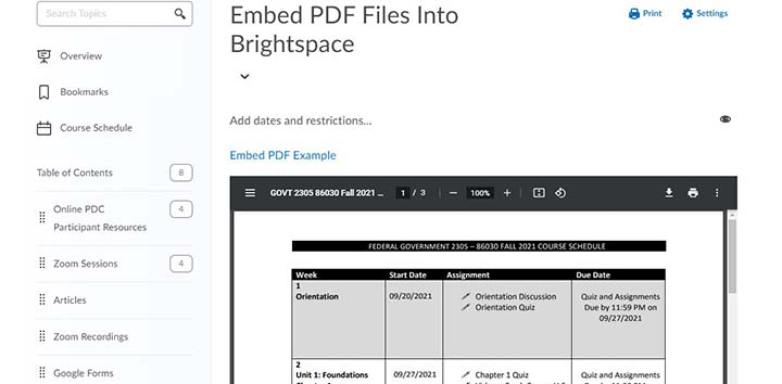 embed pdf brightspace content header