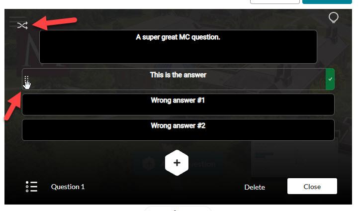 kaltura quiz answer shuffle options