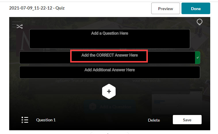 kaltura quiz multiple choice correct answer at top
