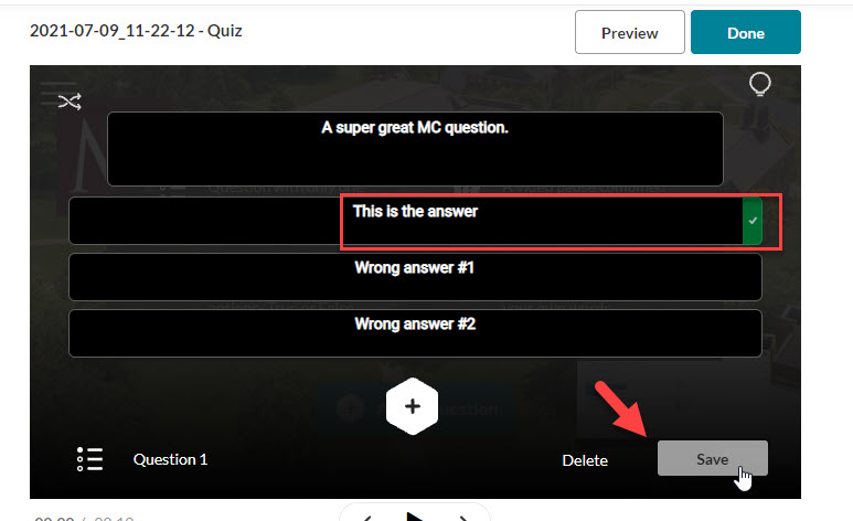 kaltura quiz multiple choice save the question first