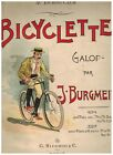 BURGMEIN  RICORDI   BICYCLETTE  GALOP  PARTITION   PIANO 4 MAINS   1895