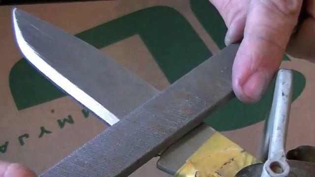 Заточка ножа напильником
