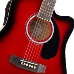 Ashthorpe Full-Size Dreadnought Cutaway Acoustic-Electric Guitar Bundle – Premium Tonewoods – Red 3