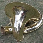 INDIAN HANDMADE BRASS FINISH SOUSAPHONE BRASS MADE TUBA MOUTH PIECE WITH CARRY BAG 25″ 1