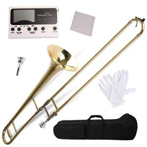 Apelila Gold Bb Tenor Trombone, Tuner, with Hard Case Mouthpiece Cleaning Kit & Care Kit Standard Student Beginner Brass Trombone