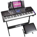 RockJam 61-Key Electronic Keyboard Piano SuperKit with Stand, Stool, Headphones & Power Supply, Black – RJ561