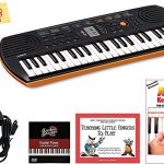 Casio Mini Keyboard Bundle with Power Supply, Removeable Stickers