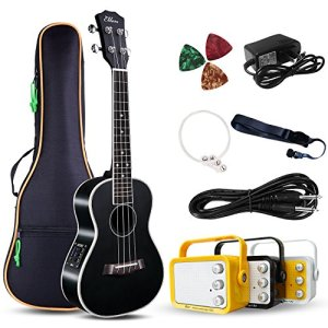 "Electric Concert Ukulele With Amp | 23"" Acoustic-Electric Ukulele Beginner Kit"