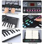 61 Keys Keyboard Piano, Electronic Digital Piano with Built-In Speaker, Microphone, Sheet Stand and Power Supply, Portable Keyboard Gift Teaching Toy for Beginners (Kids & Adults) 1