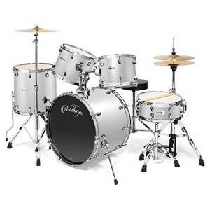 Ashthorpe 5-Piece Full Size Adult Drum Set with Remo Heads & Premium Brass Cymbals - Complete Professional Percussion Kit with Chrome Hardware - Silver