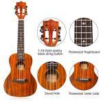 GECKO Ukulele Concert Acacia (KOA) Polished 23 inch Ukulele, 4 String with Aquila Strings Hawaii Guitar Carry bag 1