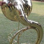 INDIAN HANDMADE BRASS FINISH SOUSAPHONE BRASS MADE TUBA MOUTH PIECE WITH CARRY BAG 25″ 2