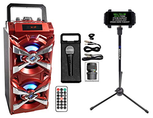 NYC Acoustics Bluetooth Karaoke Machine System w/LED's+Microphone