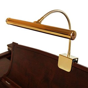 LED Piano Lamp Brass Flexible Gooseneck 12 Inch Shade Piano Light