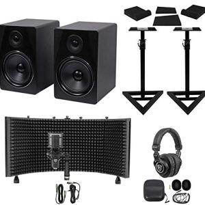 """2) Rockville 8"""" Active Studio Monitors+Stands+Mic+Headphones+Iso Shield"""