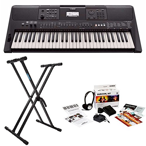 Yamaha 61-key high-level Portable Keyboard with Knox Double X Stand