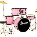 Gammon Percussion Pink Drum Set Full Size 5-Piece Kit with Cymbals Stands