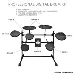 Pyle Pro 9 Piece Electronic Set-Electric Kit with 5 Drum Heads, 2 Cymbal Crash Pads, Hi Hat and Bass Pedal Controller, Module, Stand Rack, Sticks-Professional/Beginners (PED021M) 1
