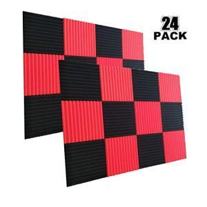 24 Pack- Charcoal Acoustic Panels Studio Soundproofing Foam Wedges