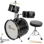 Drum Set Black Complete Junior Kid's Children's Size with Cymbal Stool Sticks – Sticks – Everything You Need to Start Playing